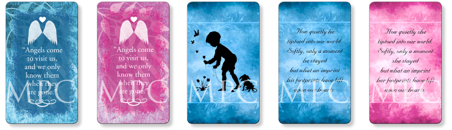Child memorial prayer cards