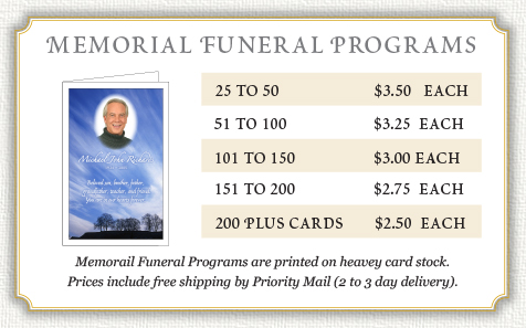 memorial funeral program prices