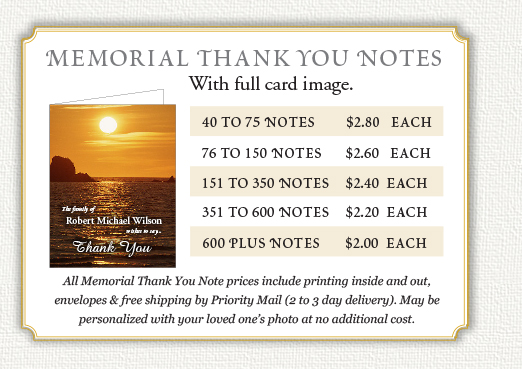 Thank notes for funeral and wake prices