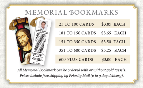 Memorial bookmarks prices