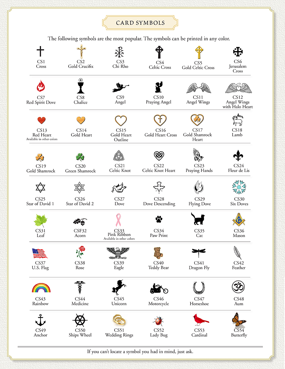 Card symbols for memorial cards.