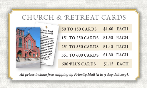 church and retreat prayer cards prices