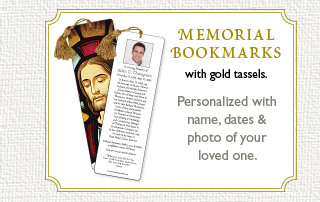 Memorial Bookmarks with gold tassels.