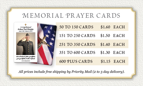 Memorial Prayer Cards prices