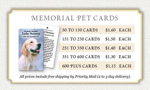 Memorial pet cards prices