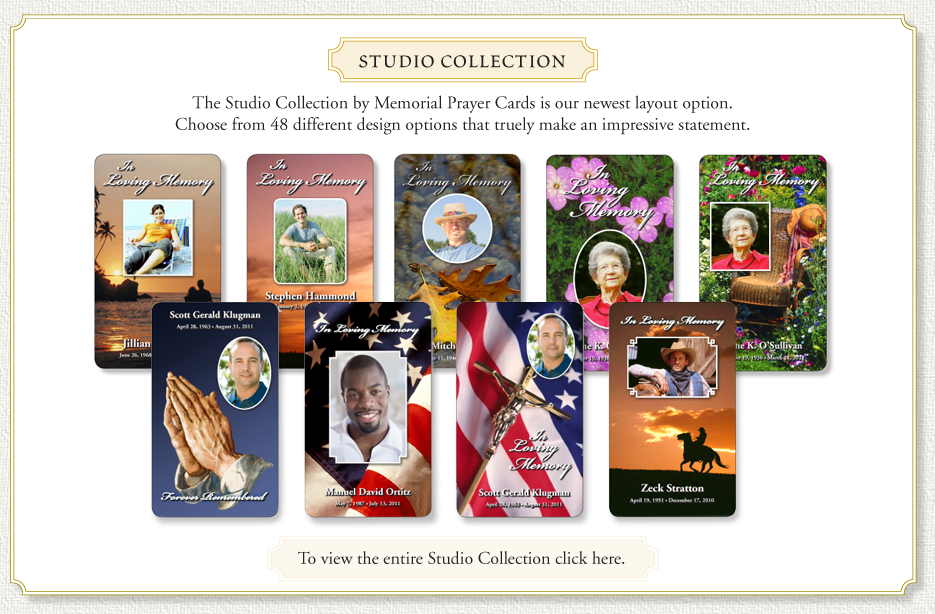 Studio Collection of Memorial Prayer Cards.